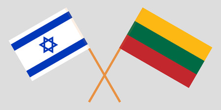 Israel and Lithuania. The Israeli and Lithuanian flags. Official colors. Correct proportion. Vector illustration