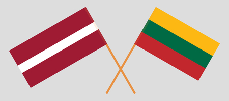 Latvia and Lithuania. The Latvian and Lithuanian flags. Official colors. Correct proportion. Vector illustration