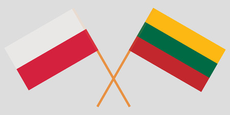 Poland and Lithuania. The Polish and Lithuanian flags. Official colors. Correct proportion. Vector illustration