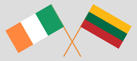 Lithuania and Ireland. The Lithuanian and Irish flags. Official colors. Correct proportion. Vector illustration