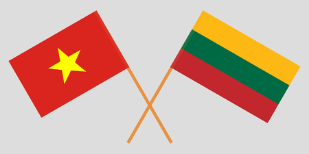 Lithuania and Vietnam. The Lithuanian and Vietnamese flags. Official colors. Correct proportion. Vector illustration