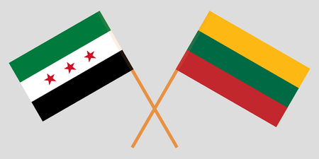 Lithuania and Interim Government of Syria. The Lithuanian and Coalition flags. Official colors. Correct proportion. Vector illustration Illustration