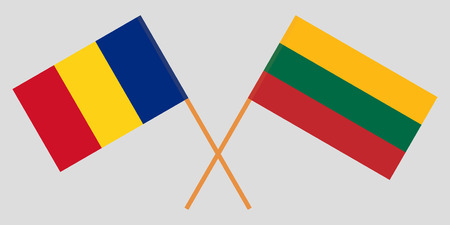 Lithuania and Romania. The Lithuanian and Romanian flags. Official colors. Correct proportion. Vector illustration