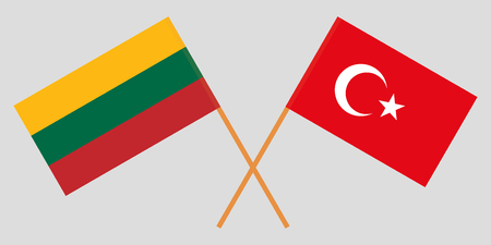 Turkey and Lithuania. The Turkish and Lithuanian flags. Official colors. Correct proportion. Vector illustration Ilustração