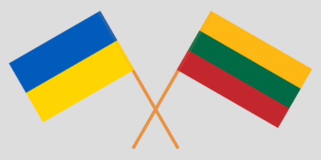 Lithuania and Ukraine. The Lithuanian and Ukrainian flags. Official colors. Correct proportion. Vector illustration Çizim