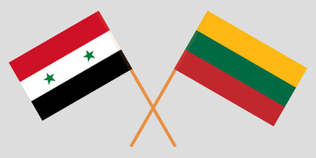 Lithuania and Syria. The Lithuanian and Syrian flags. Official colors. Correct proportion. Vector illustration