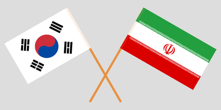 South Korea and Iran. The Korean and Iranian flags. Official colors. Correct proportion. Vector illustration