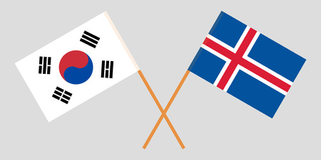 Iceland and South Korea. The Icelandic and Korean flags. Official colors. Correct proportion. Vector illustration