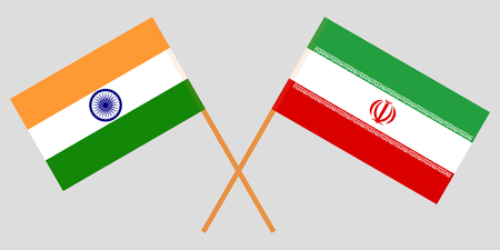 India and Iran. The Indian and Iranian flags. Official colors. Correct proportion. Vector illustration
