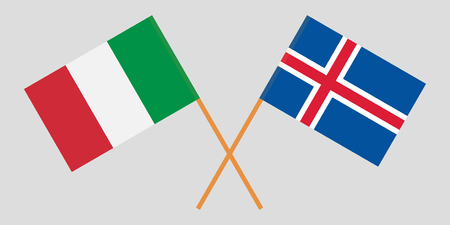 Iceland and Italy. The Icelandic and IItalian flags. Official colors. Correct proportion. Vector illustration Ilustração
