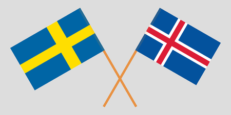 Iceland and Sweden. The Icelandic and Swedish flags. Official colors. Correct proportion. Vector illustration Ilustração