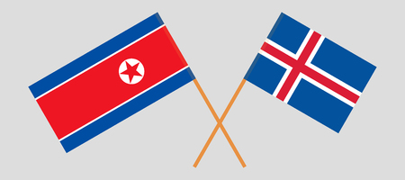 Iceland and North Korea. The Icelandic and Korean flags. Official colors. Correct proportion. Vector illustration