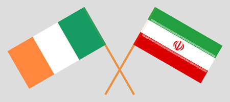 Iran and Ireland. The Iranian and Irish flags. Official colors. Correct proportion. Vector illustration