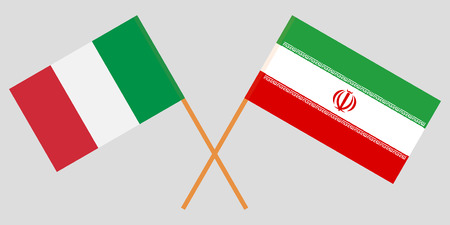 Italy and Iran. The IItalian and Iranian flags. Official colors. Correct proportion. Vector illustration Illusztráció