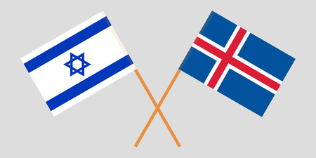 Iceland and Israel. The Icelandic and Israeli flags. Official colors. Correct proportion. Vector illustration Ilustração