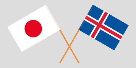Iceland and Japan. The Icelandic and Japanese flags. Official colors. Correct proportion. Vector illustration