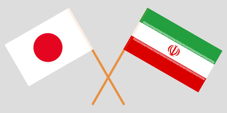 Iran and Japan. The Iranian and Japanese flags. Official colors. Correct proportion. Vector illustration