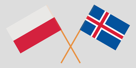 Iceland and Poland. The Icelandic and Polish flags. Official colors. Correct proportion. Vector illustration Ilustração
