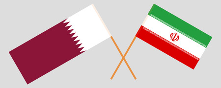 Iran and Qatar. The Iranian and Qatari flags. Official colors. Correct proportion. Vector illustration