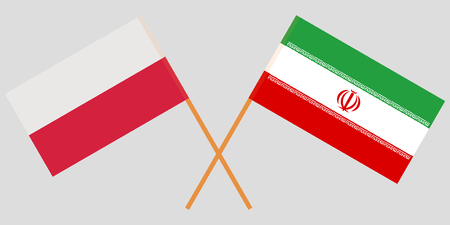 Iran and Poland. The Iranian and Polish flags. Official colors. Correct proportion. Vector illustration Illusztráció