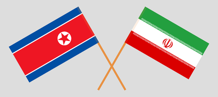 Iran and North Korea. The Iranian and Korean flags. Official colors. Correct proportion. Vector illustration