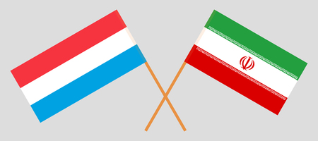 Iran and Luxembourg. The Iranian and Luxembourgish flags. Official colors. Correct proportion. Vector illustration