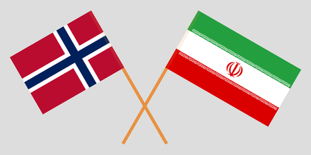 Iran and Norway. The Iranian and Norwegian flags. Official colors. Correct proportion. Vector illustration