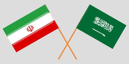Iran and Kingdom of Saudi Arabia. The Iranian and KSA flags. Official colors. Correct proportion. Vector illustration