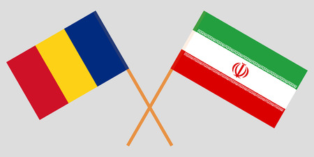 Iran and Romania. The Iranian and Romanian flags. Official colors. Correct proportion. Vector illustration