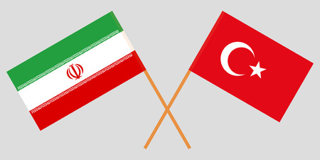 Iran and Turkey. The Iranian and Turkish flags. Official colors. Correct proportion. Vector illustration Illusztráció