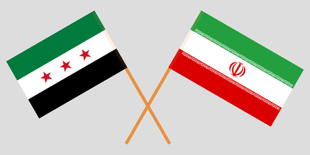 Iran and Interim Government of Syria. The Iranian and Coalition flags. Official colors. Correct proportion. Vector illustration Illusztráció