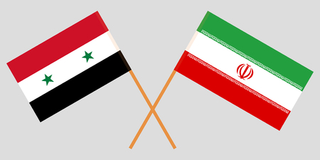 Iran and Syria. The Iranian and Syrian flags. Official colors. Correct proportion. Vector illustration
