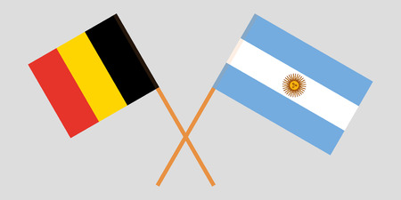 Argentina and Belgium. The Argentinean and  Belgian flags. Official colors. Correct proportion. Vector illustration