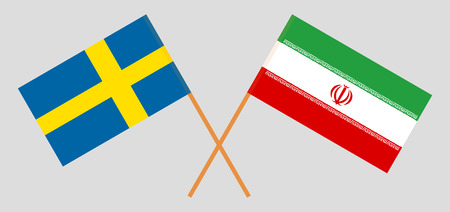 Iran and Sweden. The Iranian and Swedish flags. Official colors. Correct proportion. Vector illustration