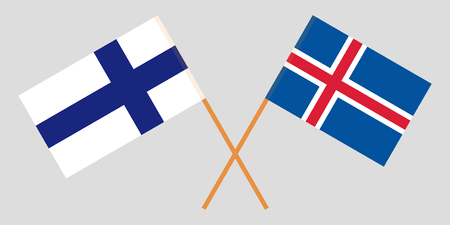 Iceland and Finland. The Icelandic and Finnish flags. Official colors. Correct proportion. Vector illustration