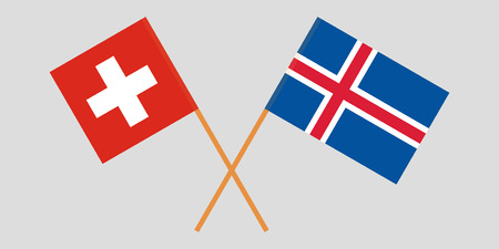 Iceland and Switzerland. The Icelandic and Swiss flags. Official colors. Correct proportion. Vector illustration Ilustração