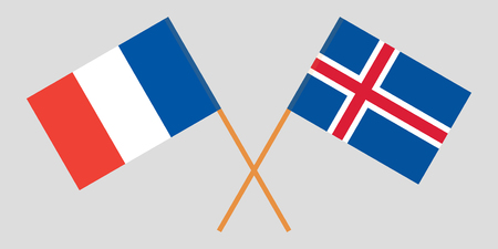 Iceland and France. The Icelandic and  French flags. Official colors. Correct proportion. Vector illustration