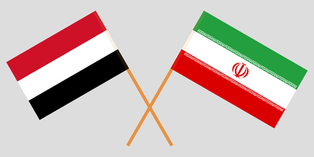 Iran and Yemen. The Iranian and Yemeni flags. Official colors. Correct proportion. Vector illustration