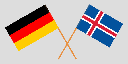 Iceland and Germany. The Icelandic and German flags. Official colors. Correct proportion. Vector illustration