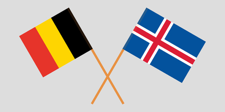 Iceland and Belgium. The Icelandic and  Belgian flags. Official colors. Correct proportion. Vector illustration