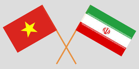 Iran and Vietnam. The Iranian and Vietnamese flags. Official colors. Correct proportion. Vector illustration