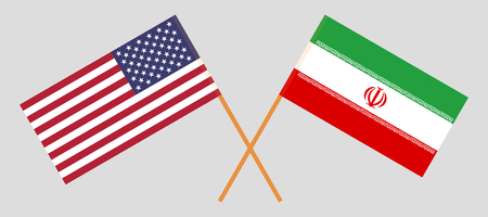 USA and Iran. The United States of America and Iranian flags. Official colors. Correct proportion. Vector illustration