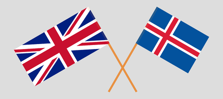 Iceland and UK. The Icelandic and British flags. Official colors. Correct proportion. Vector illustration Ilustração
