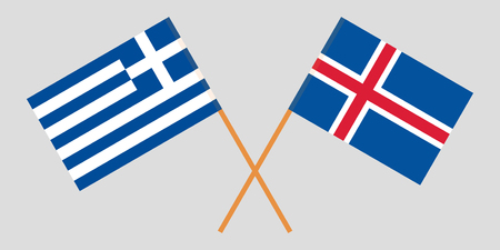 Iceland and Greece. The Icelandic and Greek flags. Official colors. Correct proportion. Vector illustration Ilustração