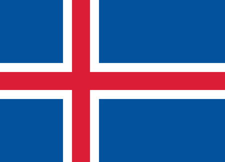 Iceland flag. Official proportion. Correct colors. Vector illustration Ilustração