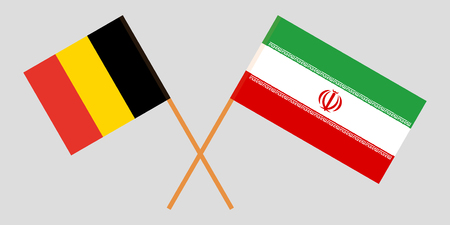 Belgium and Iran. The  Belgian and Iranian flags. Official colors. Correct proportion. Vector illustration