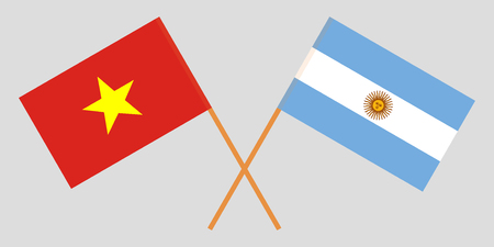 Argentina and Vietnam. The Argentinean and Vietnamese flags. Official colors. Correct proportion. Vector illustration