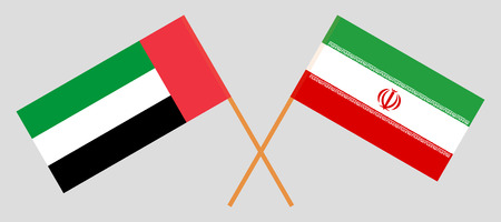 United Arab Emirates and Iran. The UAE and Iranian flags. Official colors. Correct proportion. Vector illustration Illusztráció