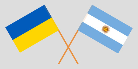 Argentina and Ukraine. The Argentinean and Ukrainian flags. Official colors. Correct proportion. Vector illustration