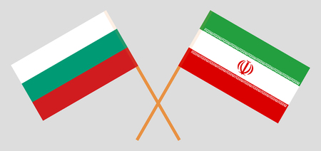 Iran and Bulgaria. The Iranian and Bulgarian flags. Official colors. Correct proportion. Vector illustration
